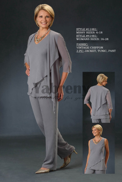 2019 new arrival Gray Chiffon mother of the bride pant suits with jacket for Spring mps-059