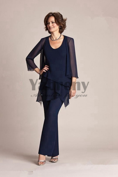 Dark navy Cheap mother of the bride outfits trousers set on sale mps-223