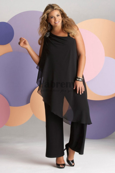 Plus Size Black under 100 pant suits for mother of the bride mps-243