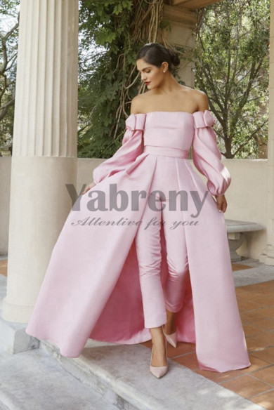 Satin Bridal Jumpsuit Pink Prom Gown Detachable Train so-133