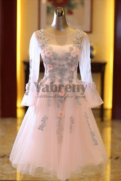 Yabreny pink Homecoming Dresses Long Sleeves Above Knee prom dresses TSJY-015