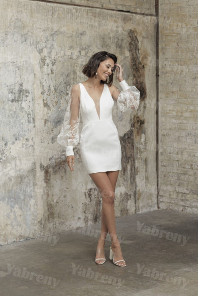 Deep V-Neck Lace Wedding Jumpsuits Above Knee hBride Dresses so-244