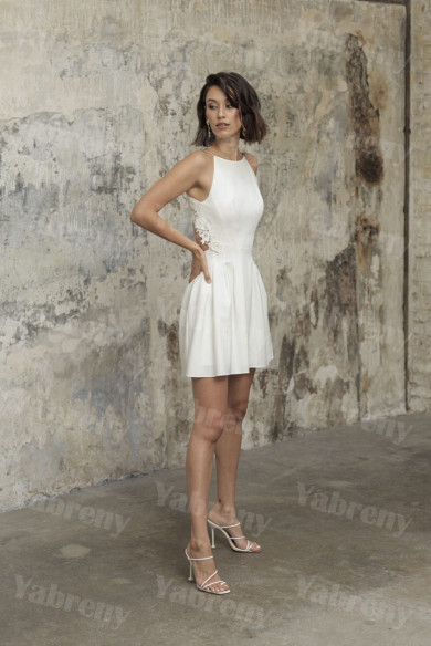 Dressy Short Wedding Dress Bride Above Knee Dress so-249