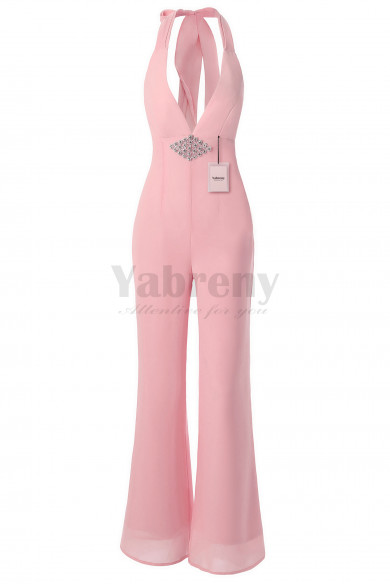 Yabreny Bridal Jumpsuits Deep-V Neck with Crystal Pink BP111702-2