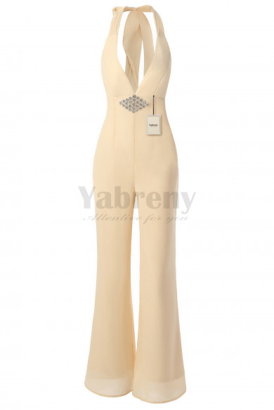 Yabreny Bridal Jumpsuits with Crystal Deep-V Neck Champagne BP111702-1