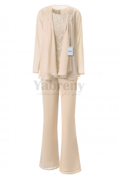 Yabreny Elegant Mother of the Bride Pants suit Champagne Lace Outfit for Beach Wedding MT001704-3