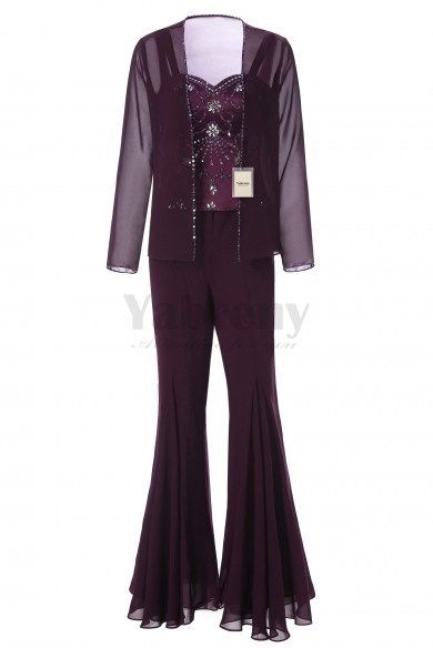 Yabreny Exquisite Hand-beading Chiffon Mother of the Bride Pantsuits Purple MT001705-1