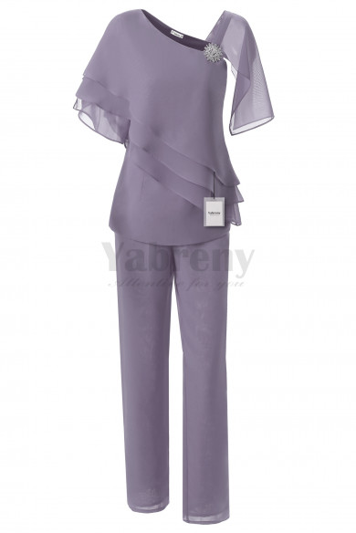 Yabreny Fashion Chiffon Mother of the Bride Pants suit 2PC Outfit Gray MT001702-2
