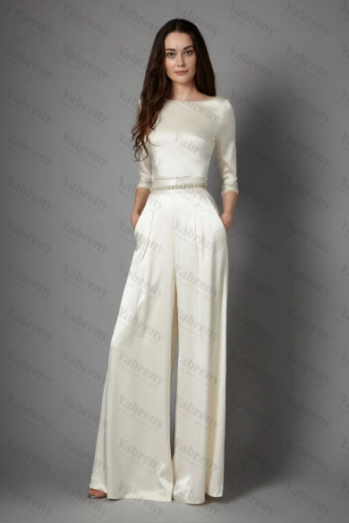 2020 Spring 3/4-length Sleeves Charmeuse lace bride jumpsuits So-207