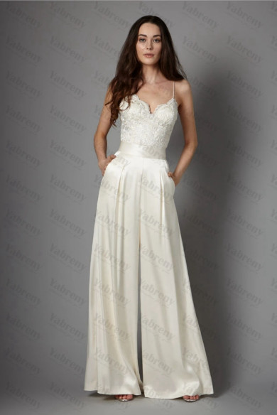 2020 Spring Spaghetti Sweetheart Charmeuse bride jumpsuits with Belt So-204