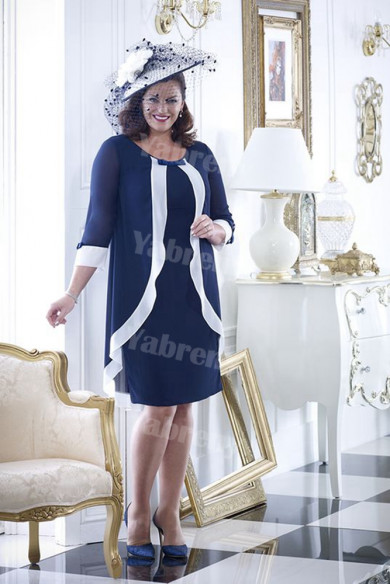 Dark Nav Chiffon Plus size Mother of the bride dress With Sleeves mps-354