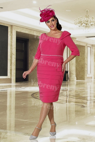 Plus size Mother of the bride dress Pleat Knee-Length Rose red mps-360