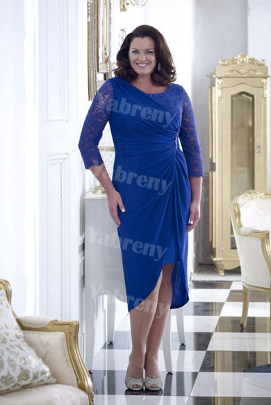 Royal blue Sheath Plus size Mother of the bride dress mps-362