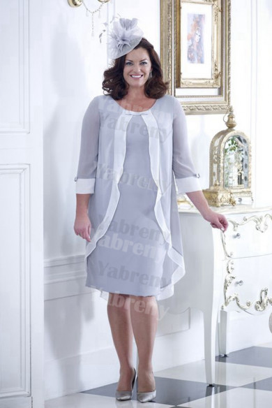 Silver Gray Chiffon Mother of the bride dress With Sleeves Plus size women