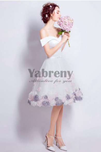 Yabreny A-line Off the Shoulder withe prom Dresses Knee-Length Homecoming Dresses TSJY-034