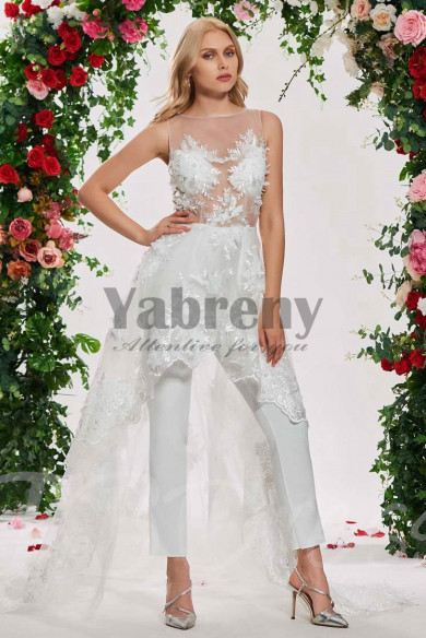 Lace bride Wedding Jumpsuit dresses With Train so-120