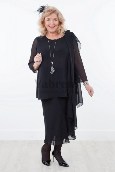 Black Plus size Chiffon mother of the bride dresses with shawl mps-034