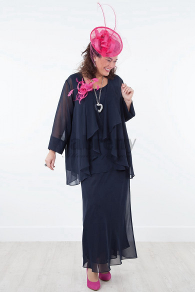 Dark navy Plus size customize 3 Pieces Chiffon Mother of the bride dresses mps-027