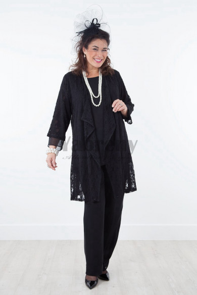 New arrival Black chiffon Mother of the bride pant suits dresses outfits mps-018
