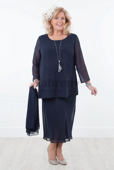 Plus size Dark navy Chiffon mother of the bride dresses wiht shawl mps-038