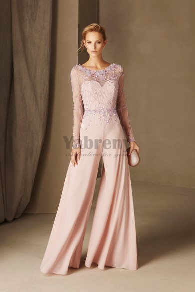 Exquisite Hand beaded Prom jumpsuit Pink Cocktail dresses so-169