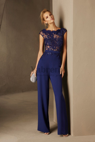 Women Jumpsuit Evening dresses Royal blue lace and chiffon so-187