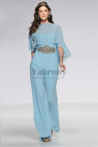Chiffon Prom Jupmsuit dresses with beaded belt Overlay Top Poncho so-165