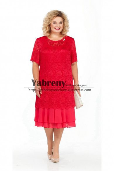 Red Lace Mother of the bride dress Plus Size Women