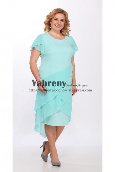Plus size Multilayer Chiffon Mother of the Bride Dresses Jade Green women