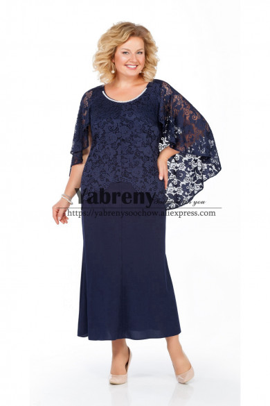 Ankle-Length dress for Mother  With Lace Cape Dark Navy Loose Women
