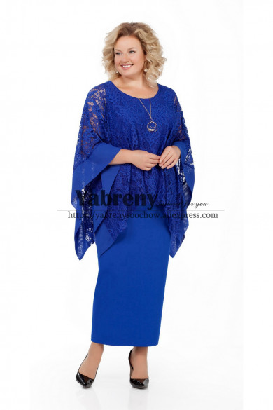 Elegant Mother of the bride dress With Lace Overlay Royal Blue Plus Size Women