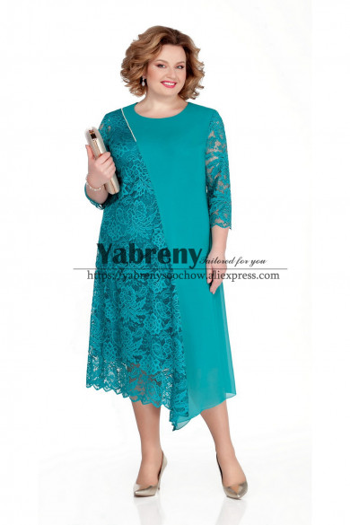 Light Blue Mother of the bride dress Asymmetry Plus Size Women Dresses mps-506-1