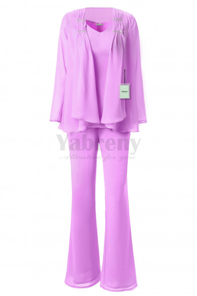 Yabreny 3PC Mother of the Bride Chiffon Pants suit lilac MT001703-3