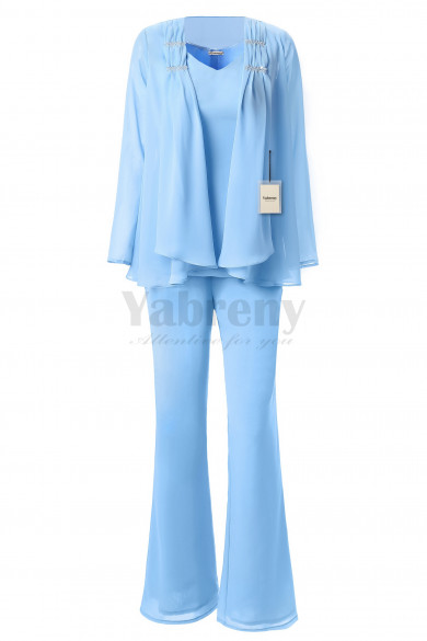 Yabreny 3PC Mother of the Bride Chiffon Pants suit Sky Blue MT001703-1