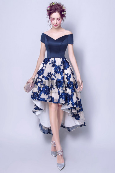 Yabreny 2020 Off the Shoulder Homecoming dresses Asymmetry Dark bule Appliques Prom Dresses TSJY-012