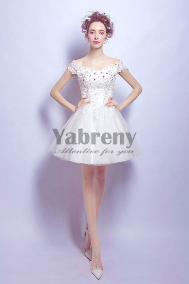 Yabreny Off the Shoulder A-line Dressy Homecoming Dresses under $100 prom Dresses TSJY-018