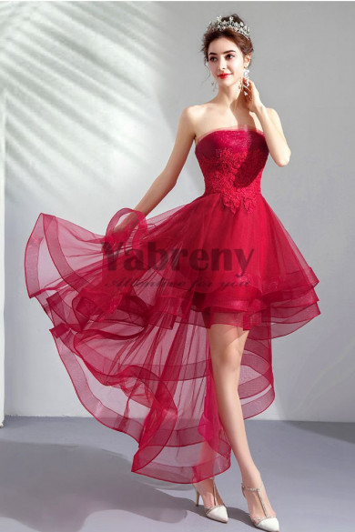 2019 Elegant Rose Red Chest Appliques Homecoming Dresses Burgundy Asymmetry prom dresses TSJY-042