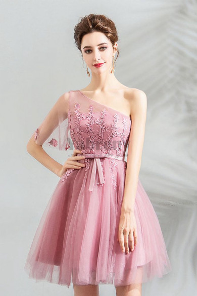 Pink Above Knee One Shoulder Homecoming Dresses  short prom dresses TSJY-057