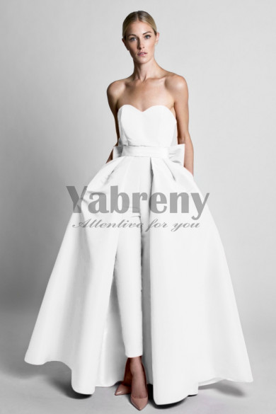 Satin Wedding Jumpsuit dresses With Detachable Train White so-091