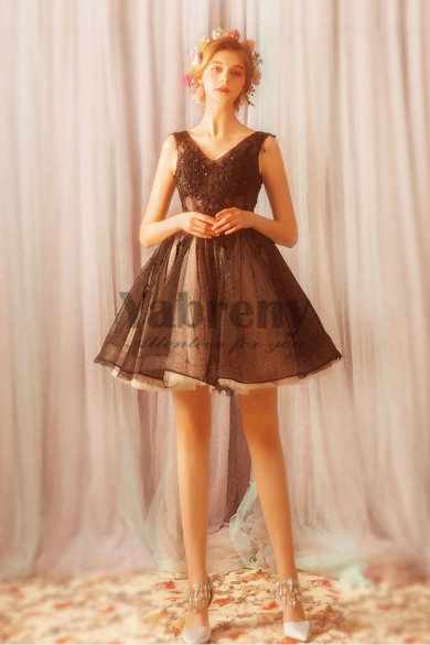 Yabreny Above Knee Homecoming Dresses lovely Chocolate prom Dresses TSJY-027