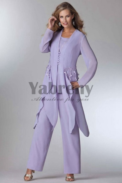 Lavender loose Mother of the bride pant suits dress Layered Wedding party Trouser outfit mps-093