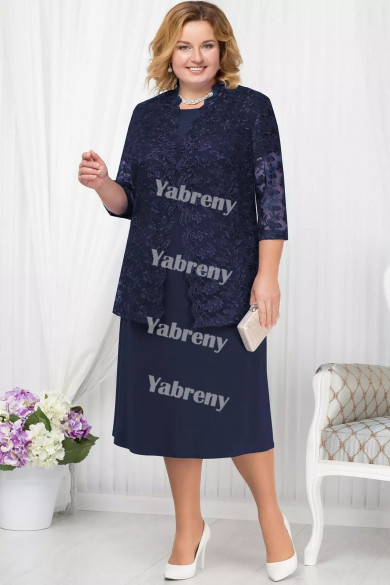 Plus Size Half Sleeves Mother of the Bridal Dresses Dark Navy Mid-Calf Women