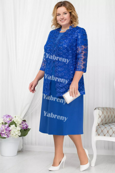 Plus Size Royal Blue Mother of the Bridal Dresses Half Sleeves Mid-Calf Women