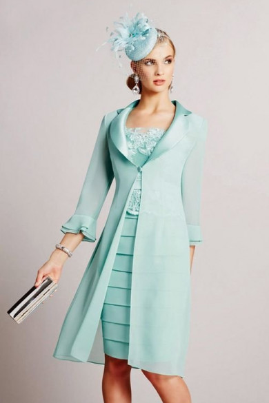 2PC  Knee-length Outfits Green Jade Blue Mother of the bride dress with Jacket mps-388