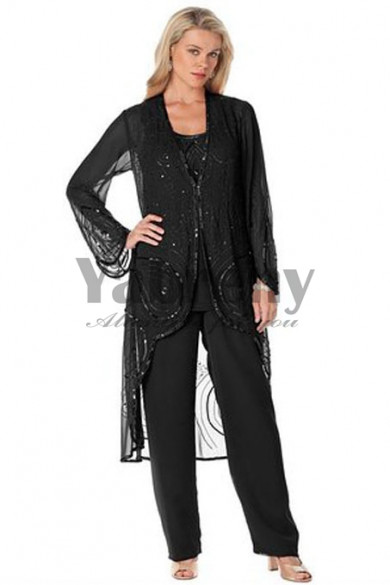Black Hand beading Mother of the bridal pants suit womem