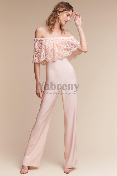 Bridesmaid jumpsuit dresses Pink chiffon wedding pantsuits so-162