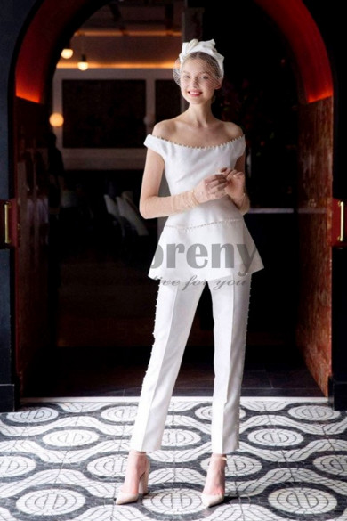 Pearl Trim Wedding pant suits Off the Shoulder dresses so-078