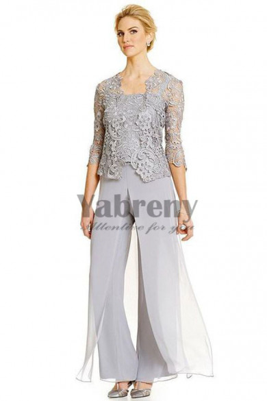 Gray Three pieces mother of the bride pant suits dresses mps-054