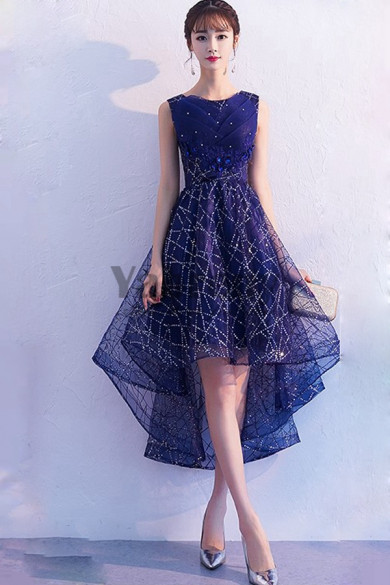 Yabreny 2020 Front Short Long Back prom dress Dark Navy Sequined Fabrics Homecoming Dresses cyh-039
