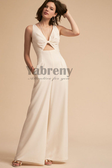 2020 Bridal Jumpsuit Ivory Bow Chest so-146